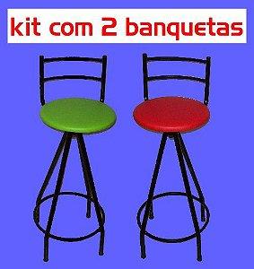 Banqueta Giratória Alta (kit com 2 unidades)