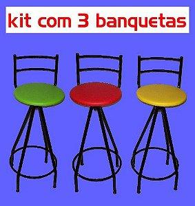 Banqueta Giratória Alta (kit com 3 unidades)