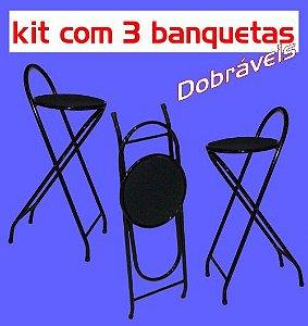 Banqueta Alta Dobrável Metalmix (kit com 3 unidades)