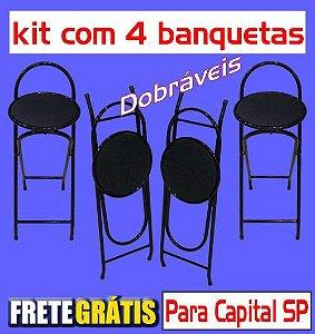 Banqueta Alta Dobrável Metalmix (kit com 4 unidades)