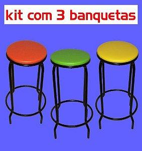 Banqueta Empilhável Alta (kit com 3 unidades)