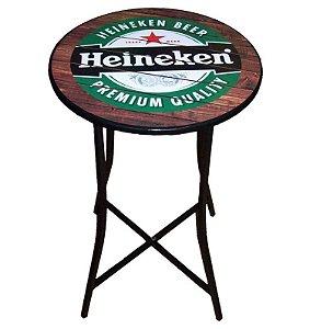 Mesa Bistrô Articulada Alta com Tampo Redondo Heineken