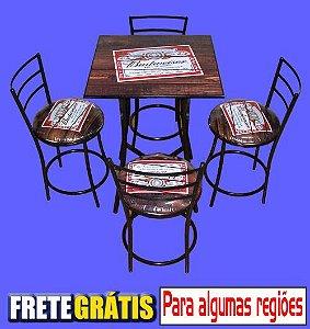 Conjunto Mesa Quadrada Articulada Baixa com 4 Banquetas Stander (Personalizado)