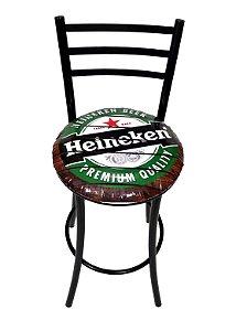 Banqueta Alta Master com Encosto e Assento Heineken