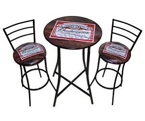 Conjunto Mesa Bistrô budweiser Alta com 2 Banquetas Budweiser