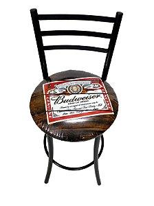 Banqueta Alta Master com Encosto e Assento Budweiser
