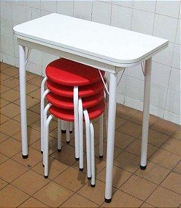 Conjunto Mesa De Cozinha Extensível com 4 Banquetas Empilháveis Assento Color