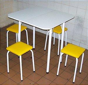 Conjunto Mesa De Cozinha Extensível com 4 Banquetas Empilháveis Assento Quadrado