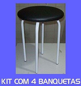 Kit com 4 Banqueta Mocho Baixa Assento Largo de 33 cm