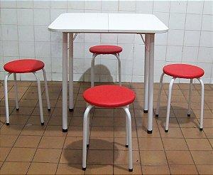 Conjunto Mesa De Cozinha Extensível com 4 Banquetas Empilháveis Estofadas