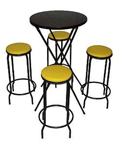 Conjunto Mesa Bistrô Alta Dobrável com 4 Banquetas Empilháveis
