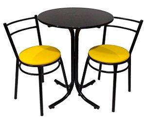 Conjunto Mesa Bistrô Baixa com 2 Banquetas Reforçadas Assento Largo