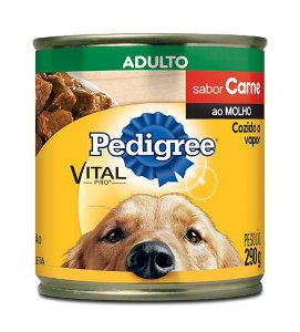Ração Pedigree Lata Vital - Pro Adulto Sabor Pedaços de Carne ao Molho - 290gr