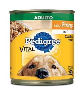 Ração Pedigree Lata Vital - Pro Adulto Patê Sabor Frango - 280gr