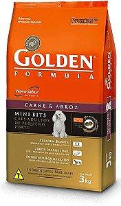 Ração Golden Formula Mini Bits Para Cães Adultos de Raças Pequenas Sabor Carne e Arroz