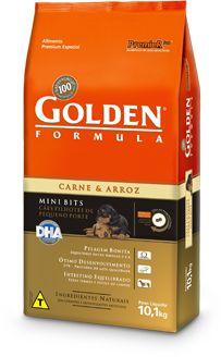 Ração Golden Formula Mini Bits Para Cães Filhotes de Raças Pequenas Sabor Carne e Arroz