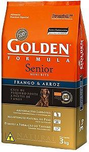 Ração Golden Formula Mini Bits Para Cães Sênior de Raças Pequenas a Partir de 7 anos Sabor Frango e Arroz