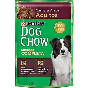 Ração Purina Dog Chow Para Cães Adultos Sabor Carne e Arroz Sachê - 100gr
