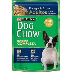 Ração Purina Dog Chow Para Cães Adultos de Raças Pequenas Sabor Frango e Arroz Sachê - 100gr