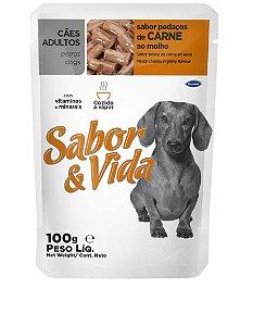 Ração Sabor e Vida Para Cães Adultos Sabor Carne Sachê - 100gr