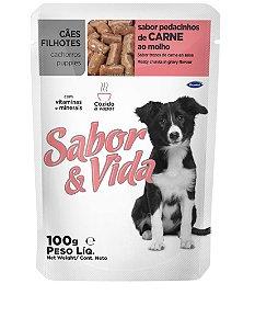 Ração Sabor e Vida Para Cães Filhotes Sabor Carne Sachê - 100gr