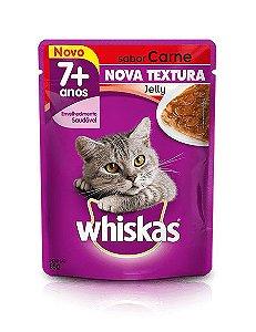 Ração Whiskas Para Gatos Adultos ou Senior a Partir de 7 Anos Sabor Jelly Carne Sachê - 85g