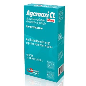 Antibacteriano Agemoxi CL Agener 50ml Com 10 Comprimidos Para Cães e Gatos