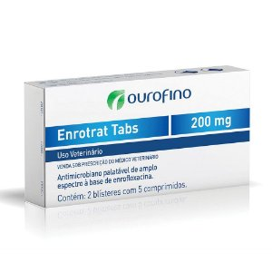 Antimicrobiano Enrotrat Tabs 200mg Ouro Fino Com 5 Comprimidos