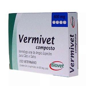 Vermífugo Vermivet Composto Biovet 600mg Com 4 Comprimidos