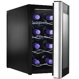 Adega de Vinho Electrolux ACS08 com Painel Touch e Porta em Alumínio Escovado para 8 Garrafas - Preta