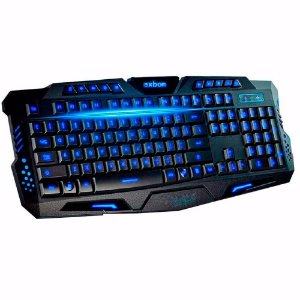 Teclado Gamer LED Multimidia Iluminado USB ABNT2 BK-G35 EXBOM AZ Importados