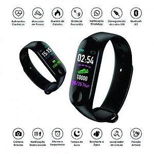 Relogio M3 Pulseira Inteligente Smartband Smartwatch Pressão Art. e Batimentos Cardíacos, Esportes
