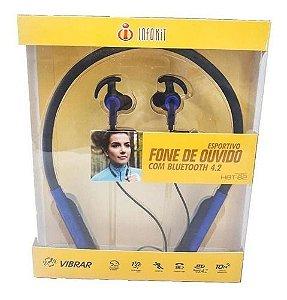 Fone Bluetooth Esportivo Sem Fio Infokit Hbt-82 Dourado