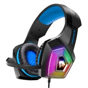 Headfone Gamer Hyperx RGB microfone articulado GH-X2000 Infokit Azul