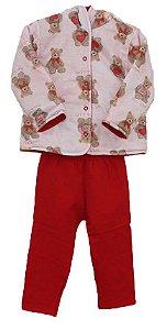 Conjunto flanelado com casaco de capuz dupla face estampado rosê e vermelho(Meia de Leite)