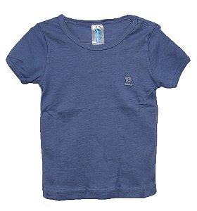 Camiseta bebê manga curta fio penteado menino na cor azul - Pulla Bulla