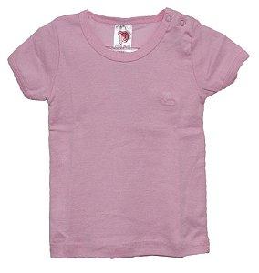 Camiseta bebê manga curta fio penteado menina na cor rosa - Pulla Bulla