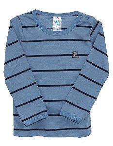 Camiseta manga longa listrada em malha nas cores azul/marinho - Pulla Bulla