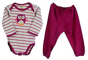 Conjunto de Body e calça nas cores cinza/rosa: Body manga longa e calça sem pé  - Suedine (Best Club)