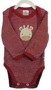 Conjunto de Body e calça nas cores vermelho/branco: Body manga longa e calça com pé  - Suedine (Best Club)