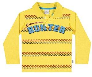 Camiseta Polo Manga Longa Menino Amarela - Elian
