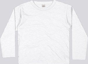 Camiseta Manga Longa Lisa em Meia Malha Flamê Menino Branca - Elian