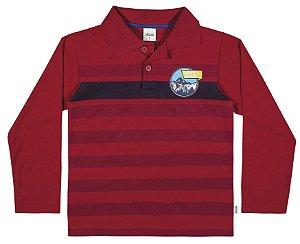 Camiseta Polo Manga Longa Menino Vermelha - Elian