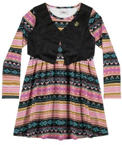 Vestido infantil em cotton confort e colete em suede - Elian