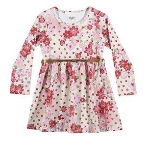 Vestido infantil em cotton confort Creme e Rosa - Elian