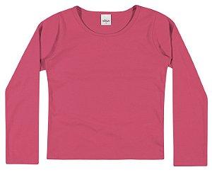 Camiseta Manga Longa Lisa em Meia Malha Penteada Menina Pink - Elian