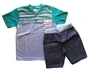 Conjunto Blusa e Bermuda Jeans Cos Ribana Menino Mescla e Verde  - Gueda