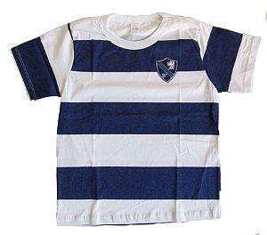 Camiseta Listrada com Patch Menino Branco e Marinho  - Gueda