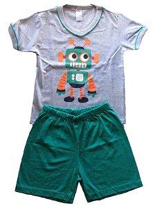 Conjunto Pijama Camiseta e Bermuda Menino Mescla e Verde  - Gueda
