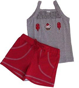 Conjunto Regata Patch e Shorts algodão Menina Mescla e Vermelho - Gueda